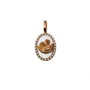 Bacio d'Angeli ovale H19mm Oro 18KT  Zirconi e Madre perla