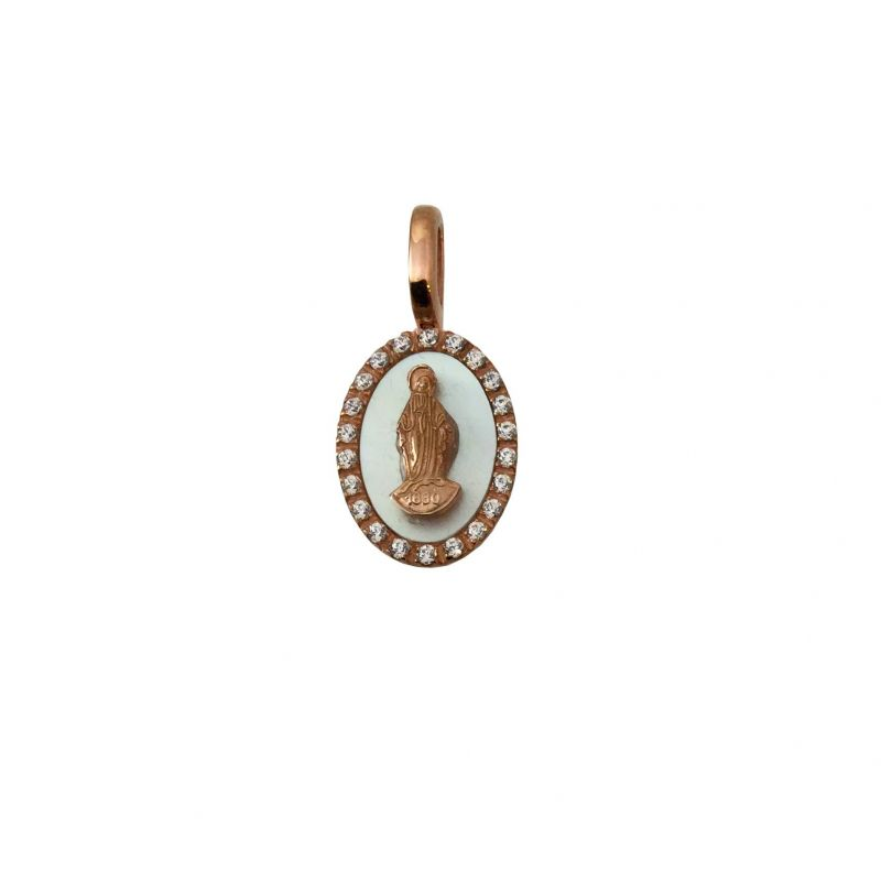 Holy Mary ovale H16mm Oro 18kt, Zirconi e Madre perla