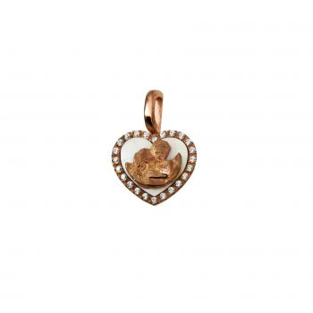 Bacio d' Angeli cuore Ø15mm Oro 18kt, Zirconi e Madre perla