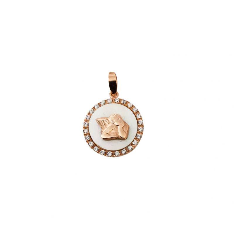 Angelo Guardiano Ø15mm Oro 18kt, Zirconi e Madre perla