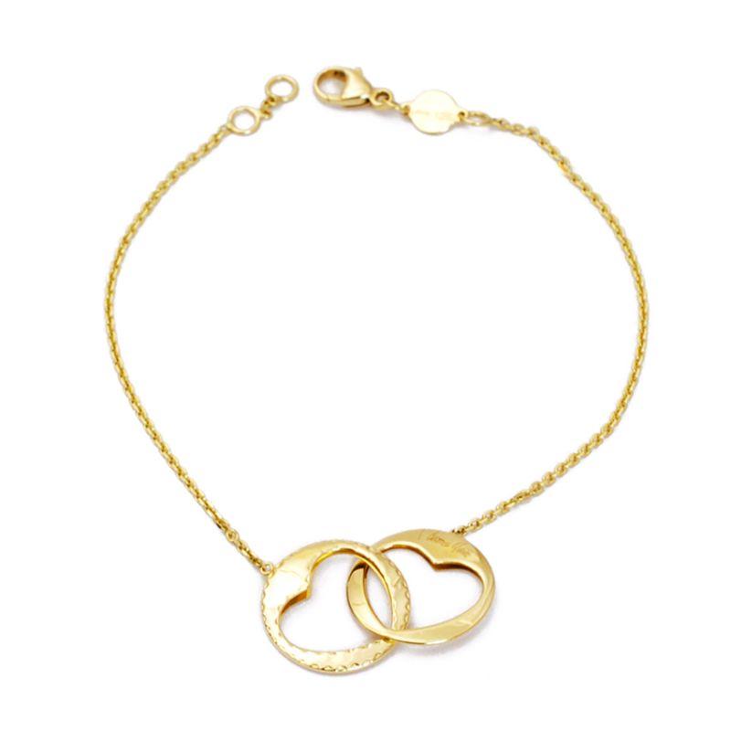 Bracciale con due anelli a cuore in oro