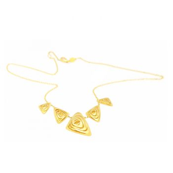 Necklace with five gold triangles