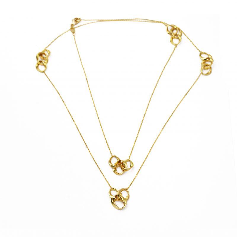 Collana lunga con anelli in oro giallo