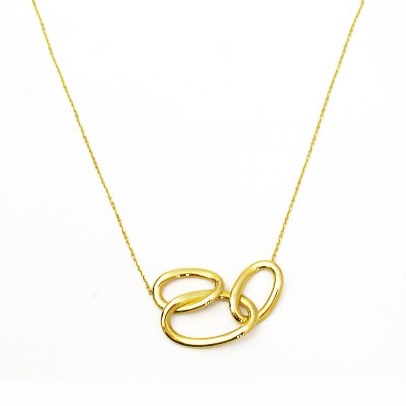 Collana con tre anelli ovali in oro giallo