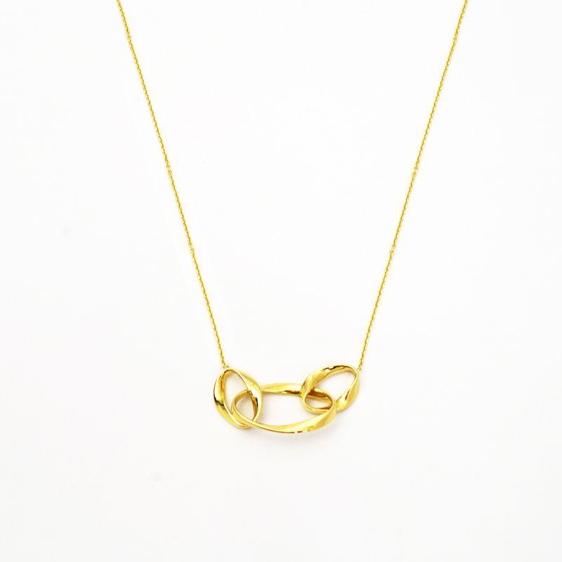 Collana a tre anelli ovali in oro giallo