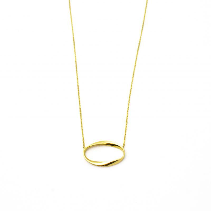 Collana con anello ovale in oro giallo