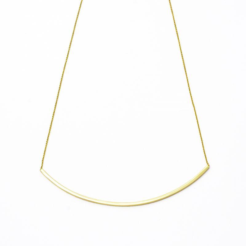 Collana barretta curva fina in oro giallo