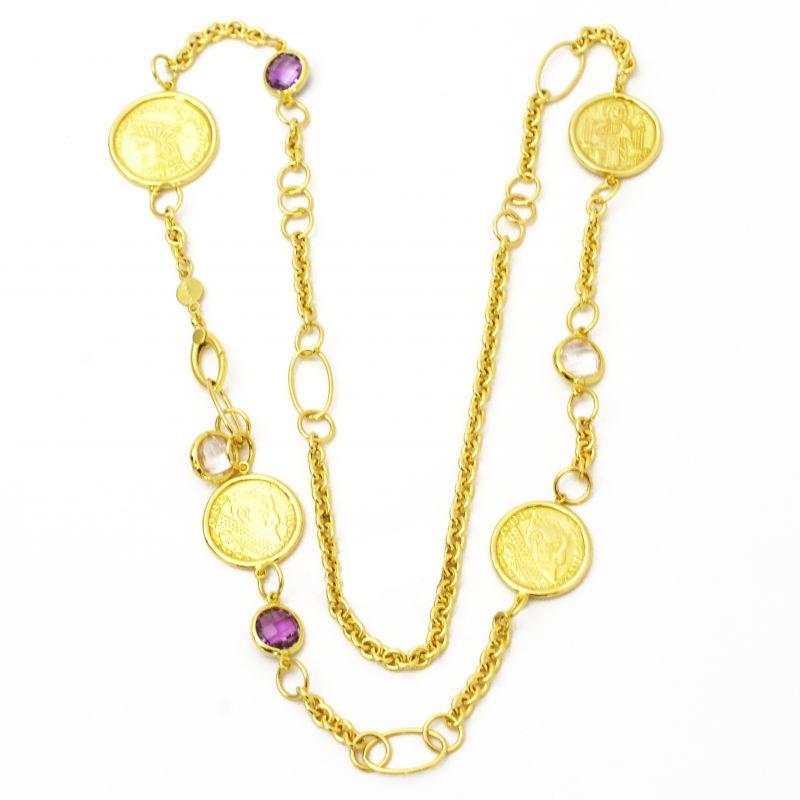 Collana con monete e pietre in oro giallo