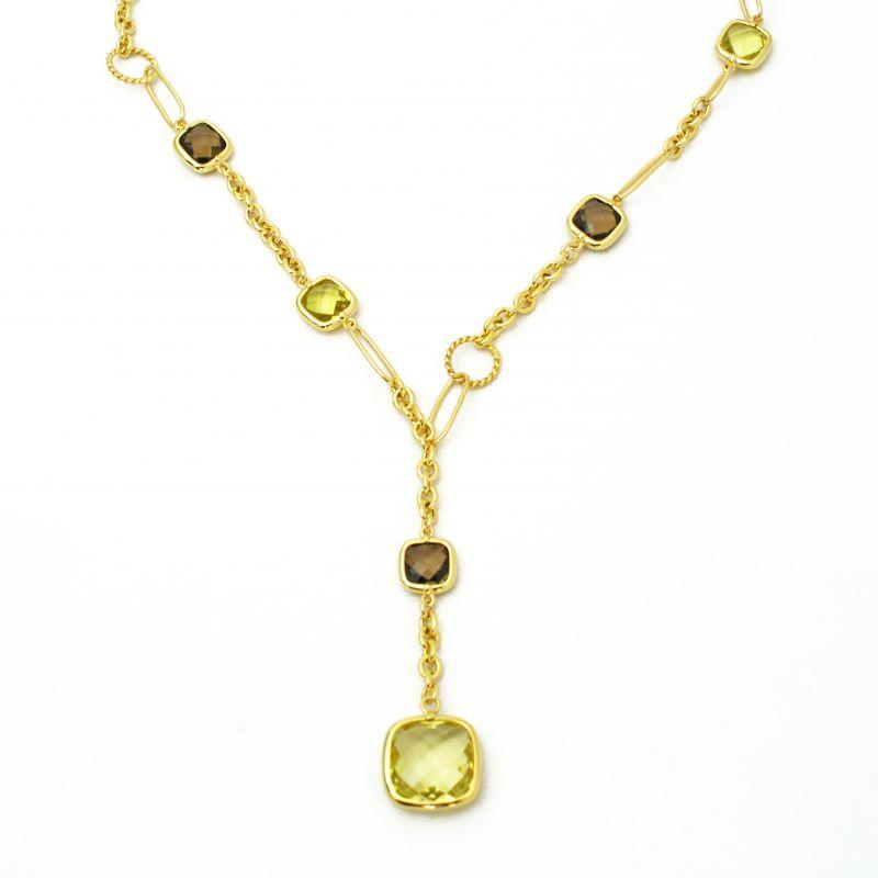 Collana con pietre incastonate in oro giallo