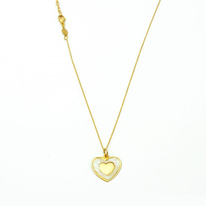 Collana con cuore in madreperla in oro giallo