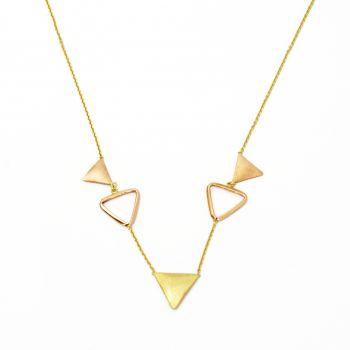 Collana a cinque triangoli in oro giallo e rosa